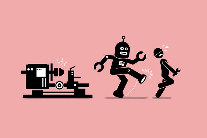 Robot mechanic kicks away a human technician worker from doing his job at factory Illustration