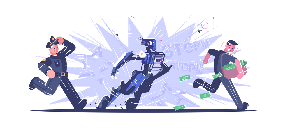 Robot Police Officer Illustration