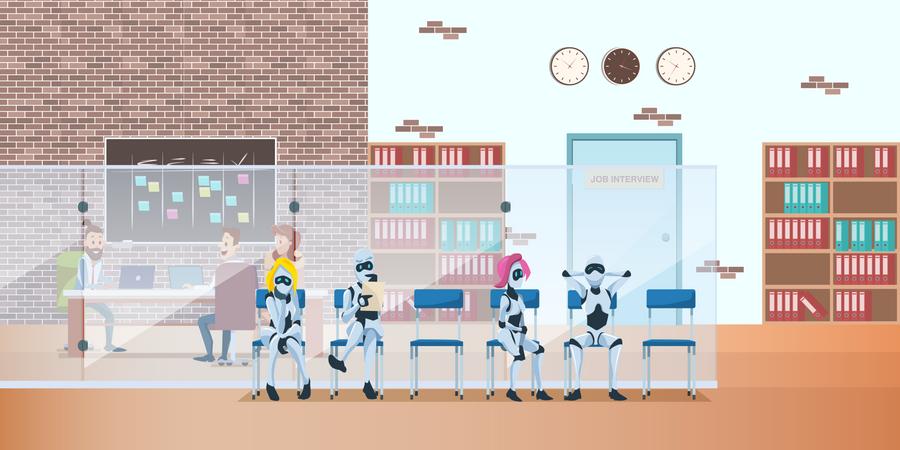 Robot Queue for Job Interview Illustration