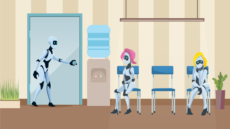 Robot Queue in Office Corridor Waiting for Job Interview Illustration