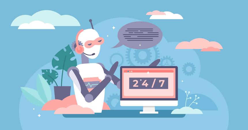 Robot telemarketer broadcast media Illustration