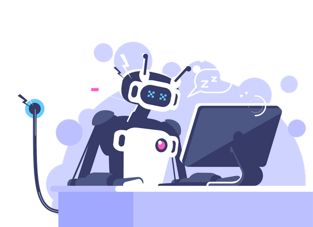 Robot With Low Energy Working On Laptop Illustration