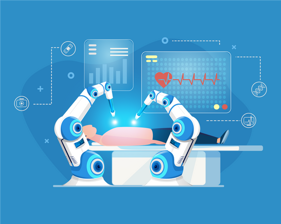 Robotic arm doing operation of human Illustration