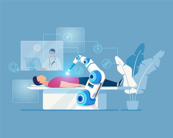 Robotic arm doing operation of human under doctor observation Illustration