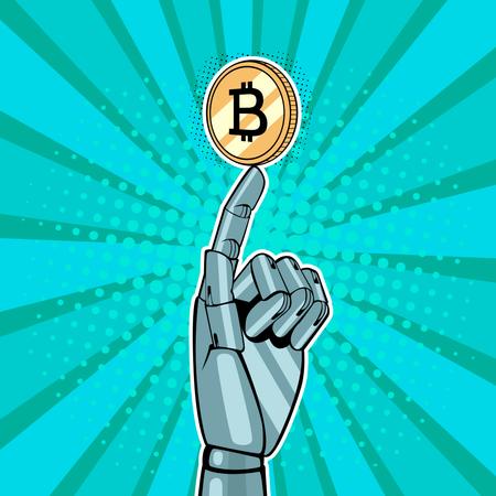 Robotic hand holding golden bitcoin Illustration