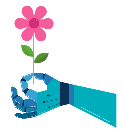 Robotic hand with a flower Illustration