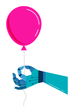 Robotic hand with a pink balloon Illustration