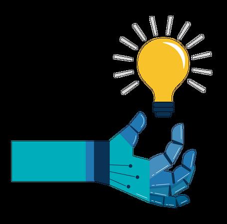 Robotic hand with light bulb Illustration