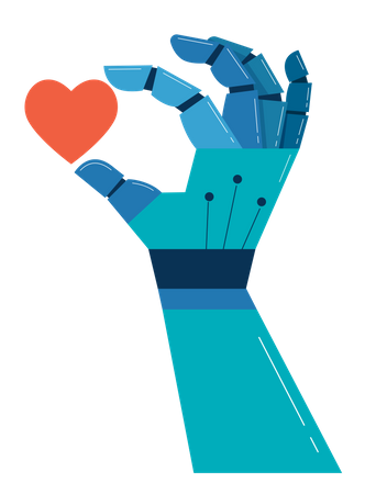 Robotic hand with red heart Illustration
