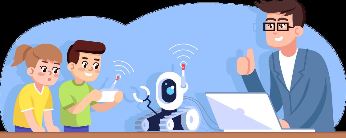 Robotics club for children Illustration