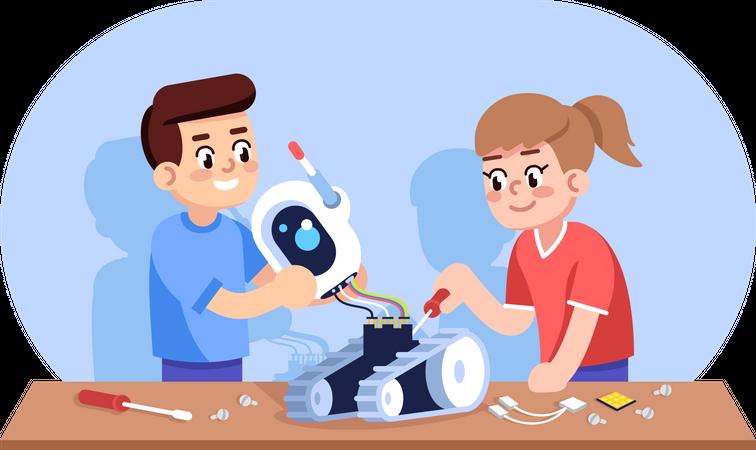 Robotics course for children Illustration