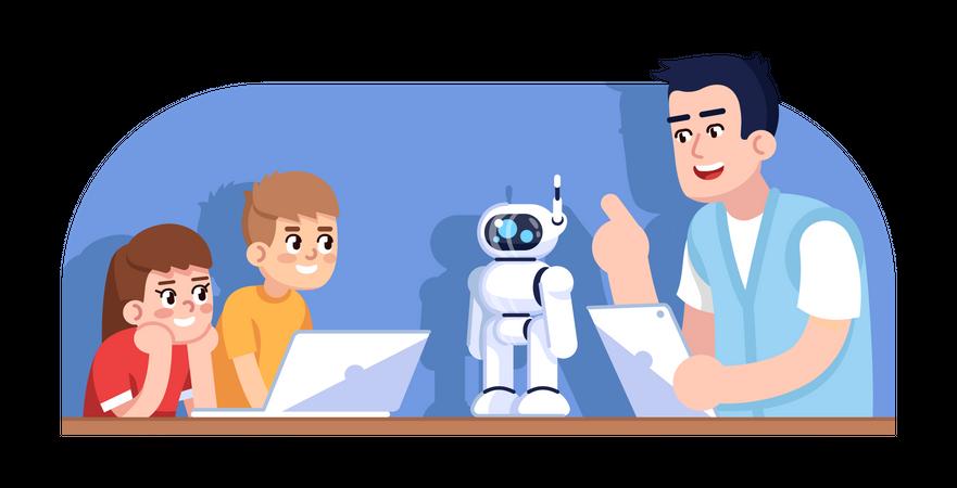 Robotics courses for children Illustration