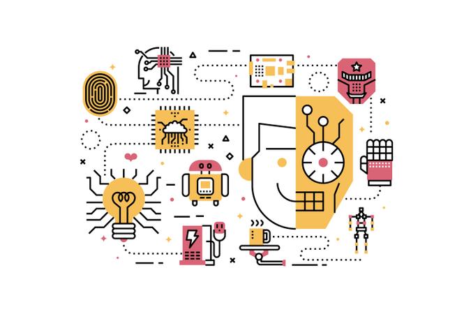 Robotics line icons illustration Illustration