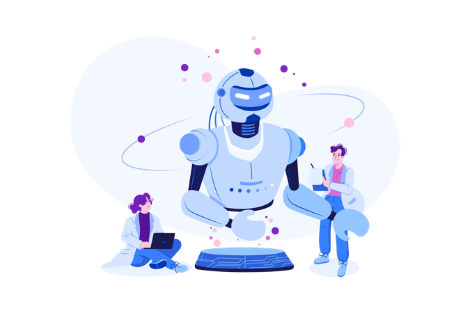 Robotics scientist programming artificial intelligence into robot Illustration
