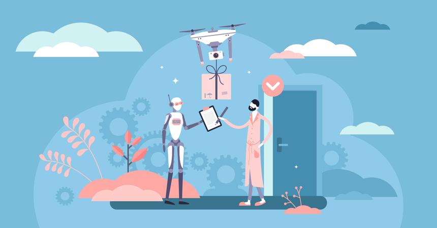 Robotized delivery service Illustration