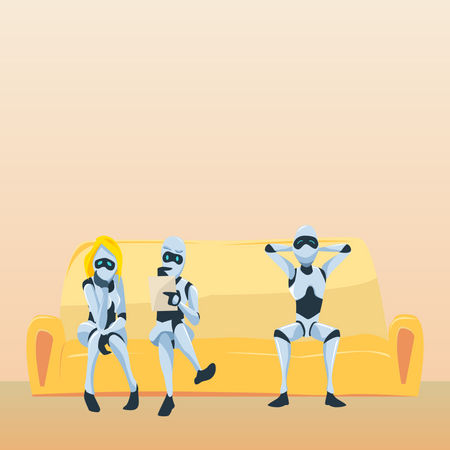 Robots waiting for job interview Illustration
