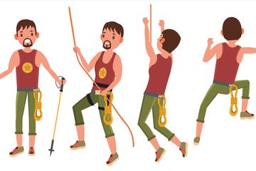 Rock Climber Male Illustration Pack
