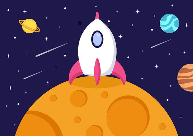 Rocket landing Illustration