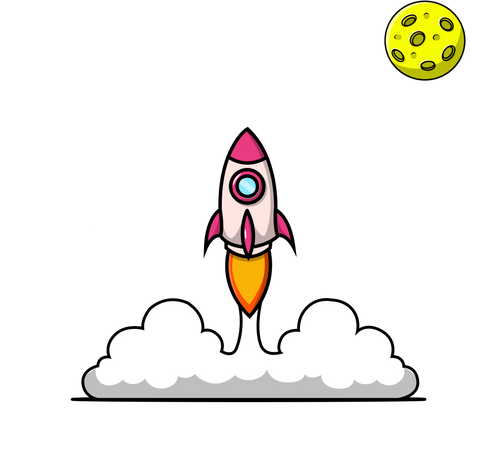 Rocket Launching and Planet Illustration