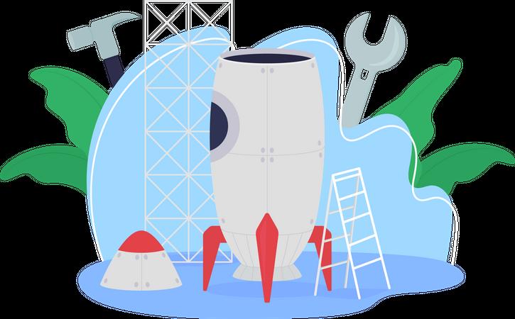 Rocket ship creation Illustration