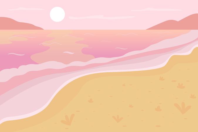 Romantic beach scenery Illustration