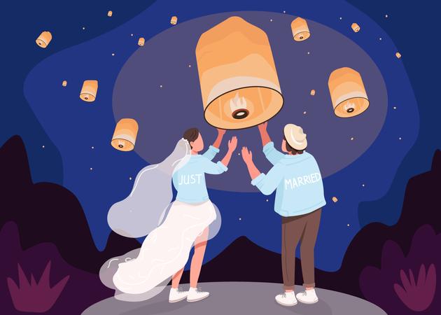 Romantic celebration with lanterns Illustration
