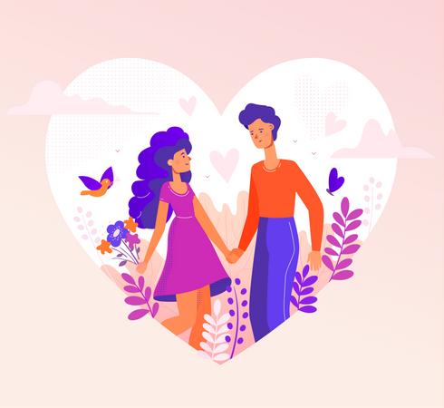 Romantic couple Illustration