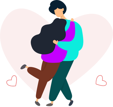 Romantic couple hugging each other Illustration