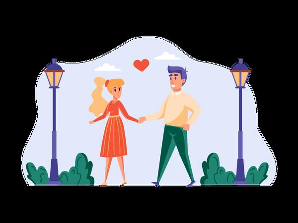 Romantic Couple walking holding hands Illustration
