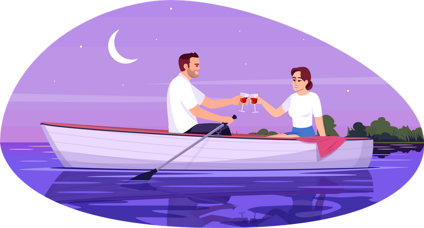 Romantic date of young couple on boat Illustration
