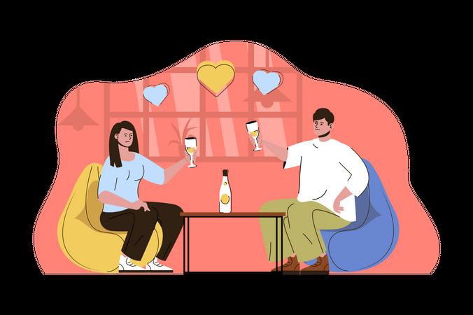 Romantic dinner Illustration
