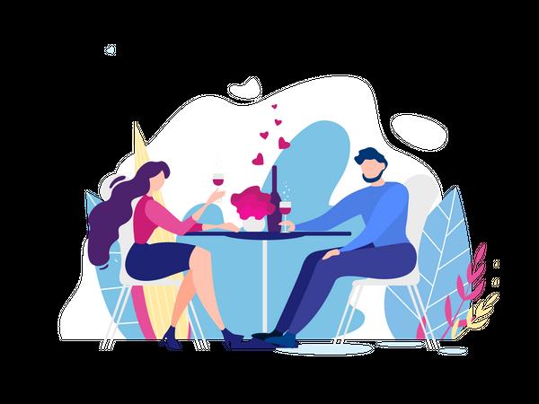 Romantic Dinner Date Illustration