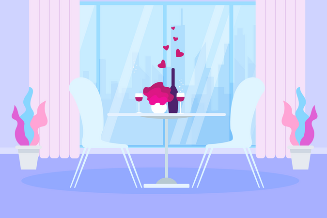 Romantic Dinner Restaurant Table with Wine Bottle and Glass Illustration