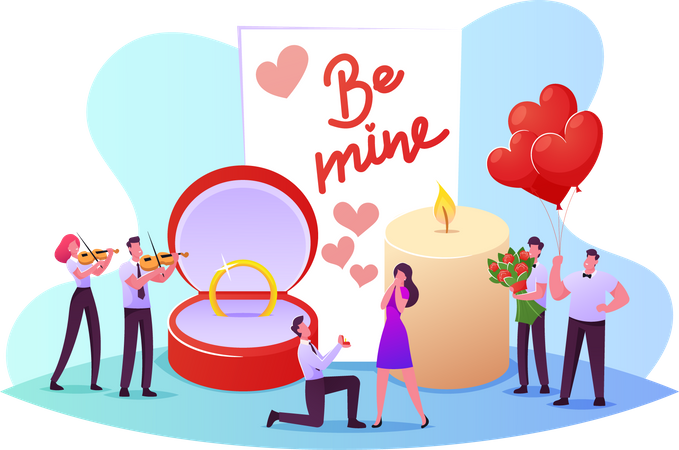 Romantic Marriage Proposal to Woman Illustration