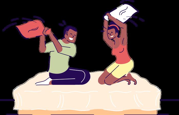 Romantic pillow fighting Illustration