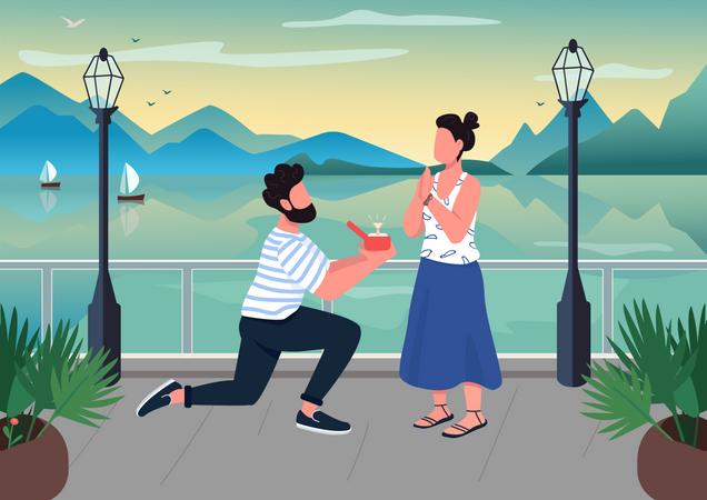 Romantic proposal Illustration