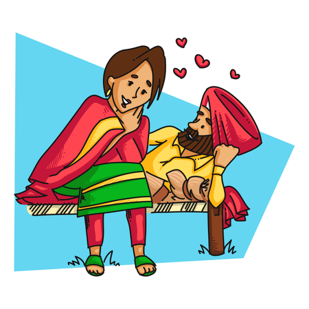 Romantic punjabi couple love Illustration