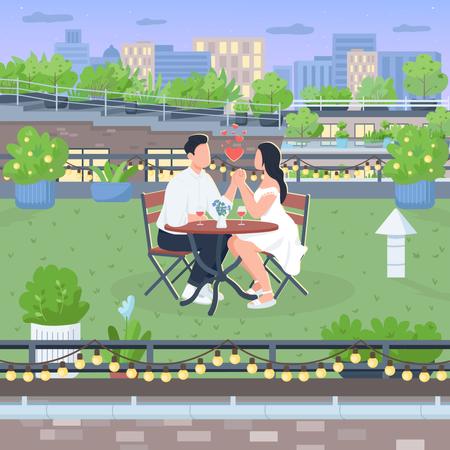 Romantic roof date Illustration