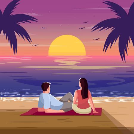 Romantic sunset Illustration