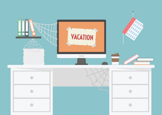 Room Is Untidy Because Officer Vacation Illustration