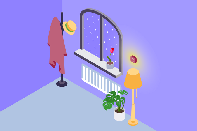 Room temperature control with help of sensor in smart home Illustration