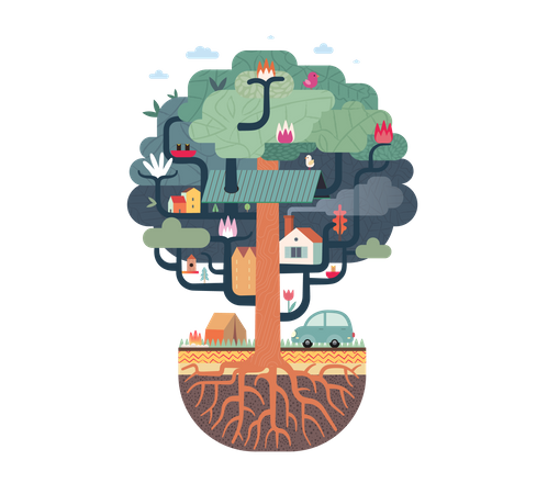Roots holding tree house Illustration