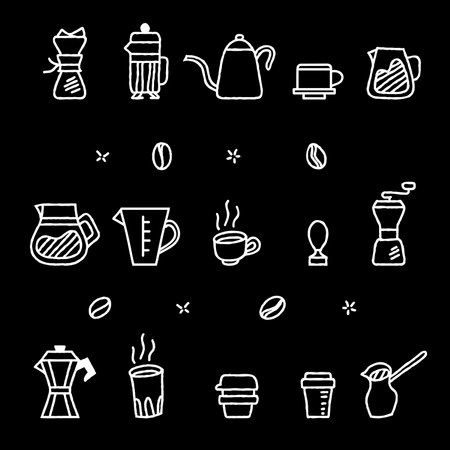 Rough Outline Coffee Manual Brewer Tool Graphic Collection Illustration