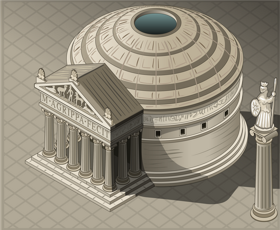 Round shaped Ancient Building Illustration