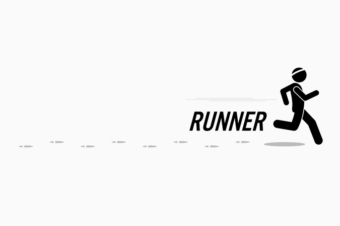 Runner runs and training in a outdoor running place leaving footprint behind. Illustration
