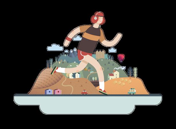 Runners guy exercising Illustration