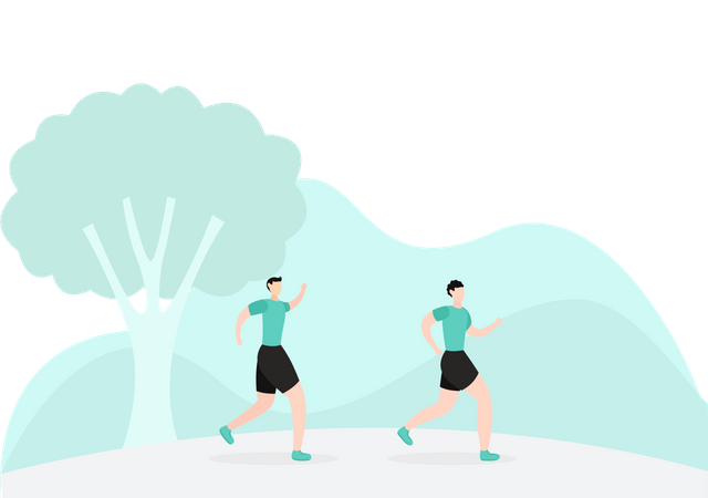 Runners Running In Park Illustration