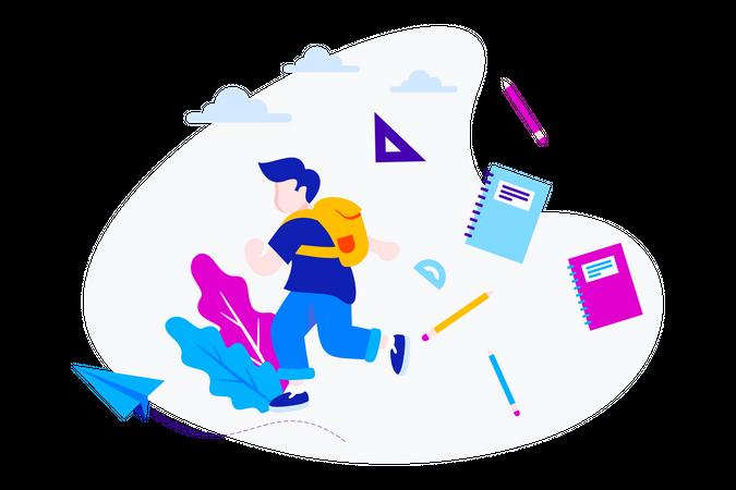 Running Kid With School Stuff Illustration