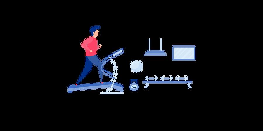 Running On Treadmill Illustration