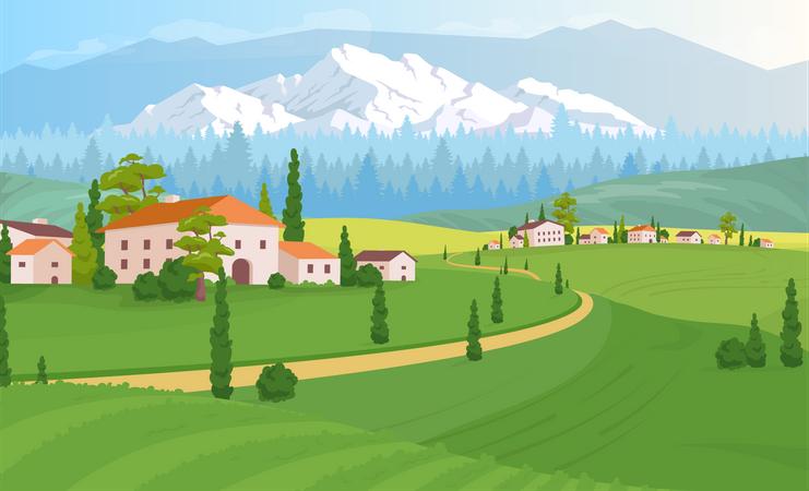 Rural dwelling scenery Illustration